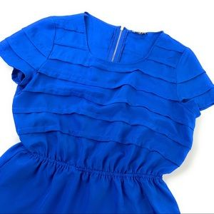 Gianni Bini Pleated Peplum Blouse in Cobalt Blue
